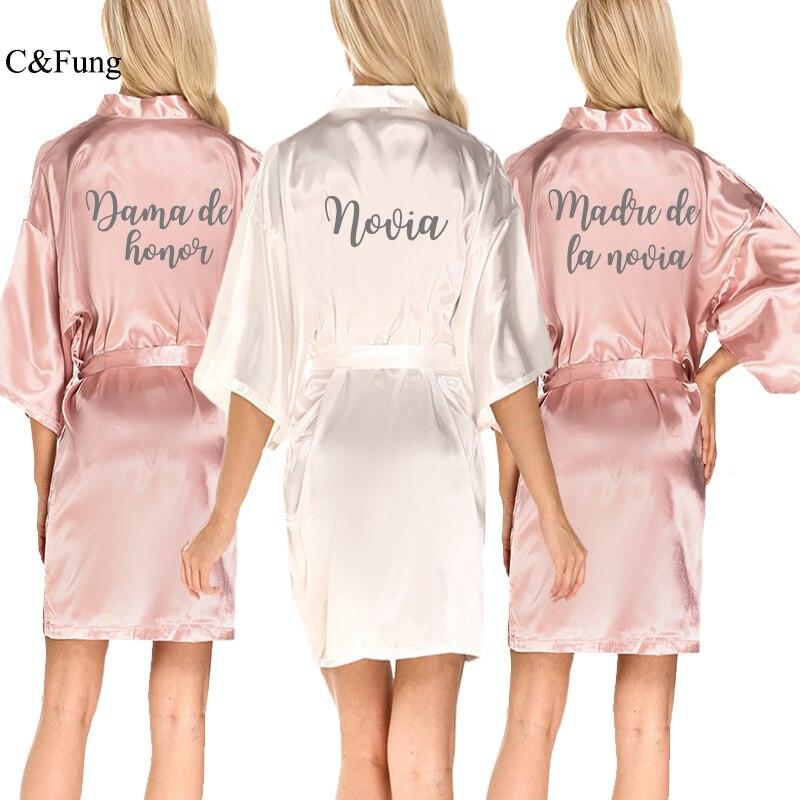 C & fung empoeirado rosa nupcial cetim robe mulher dama de honra espanol espanhol casamento robe novia quimono festa de noiva vestidos de dama de honra