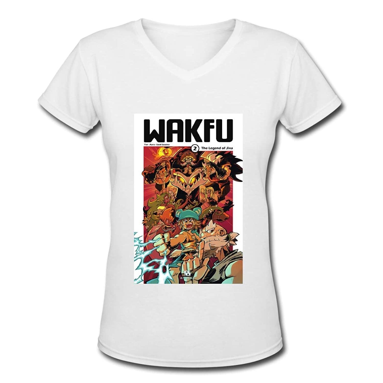 Coollemon Wakfu mujeres de manga corta cuello pico camiseta blanca