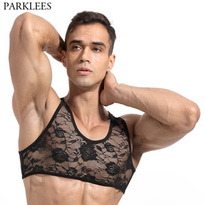 Sexy Black Lace Mesh Tank Top Men 2020 New See-through Perspective Sleeveless Tshirt Men Fitted Transparent Nightwear Undershirt