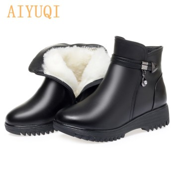 Women's Winter Shoes Boots Thick Wool Large Size 41 42 43 Women Short Boots Genuine Leather Non-slip Wedges Women's Snow Boots