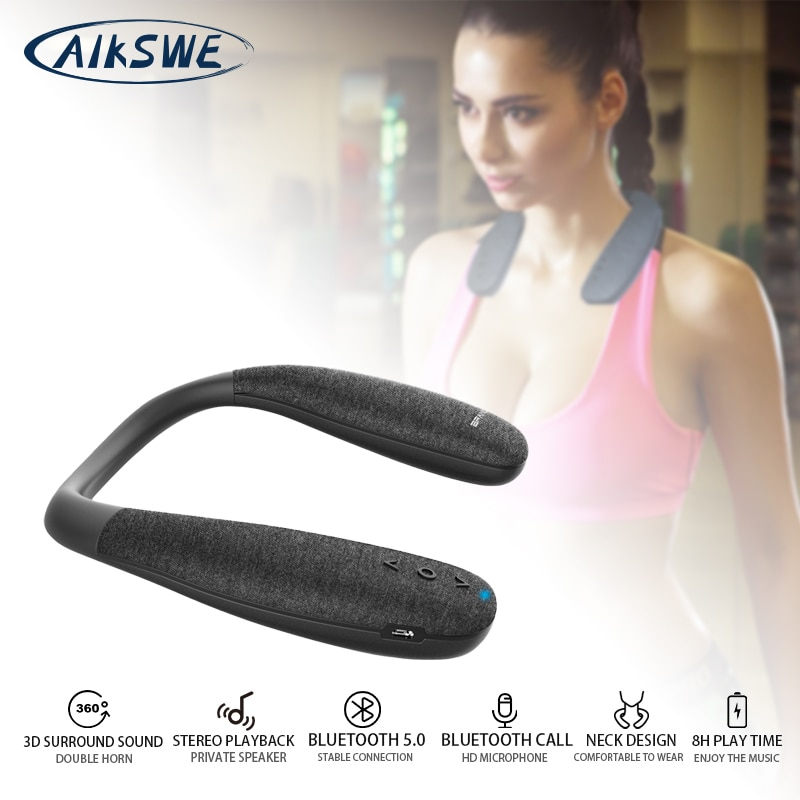 AIKSWE-مكبر صوت بلوتوث 5.0 ، مكبر صوت برقبة ، صوت محيطي ، لاسلكي ، مع زر صوت HD وميكروفون للألعاب