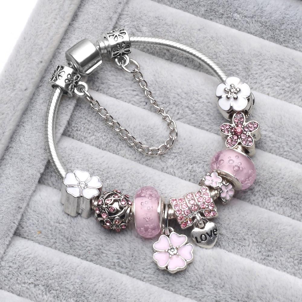 (With Box) PB1 Children Cat Charm Bracelet for Kids Girl Murano Glass Beads Bracelet For Women Ladies DIY Fashion Jewelry