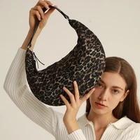 fashion down air cushion underarm shoulder bags for women 2021 new female bag oxford cloth leopard half moon handbags hobos