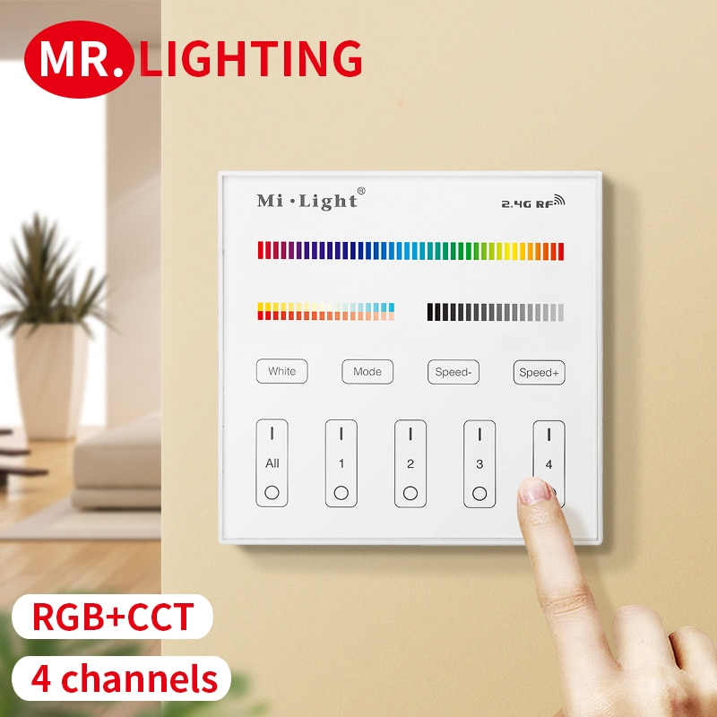 2.4G WIFI RF B4 touch panel controller battery version for CCT DIM RGB RGBW RGB + CCT LED strip/bulb free wiring wall controller