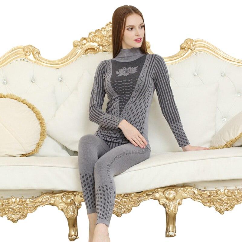 2020 neue Mode Gedruckt Gestreiften frauen Thermische Unterwäsche Set Winter Rollkragen Baumwolle Lange Unterhosen Frauen thermo Kleidung Pyjamas