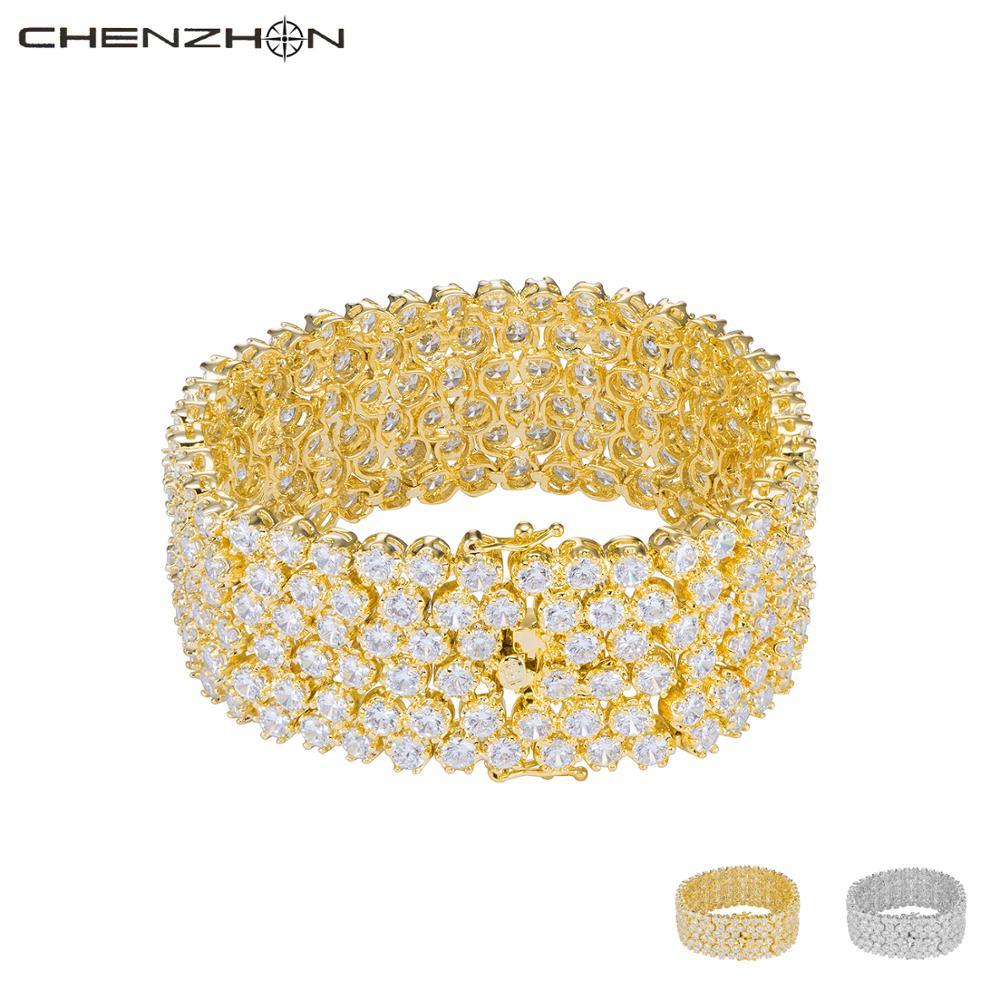 CHENZHON مثلج خارج زركون أساور للنساء الذهب/الفضة اللون الفاخرة الزفاف هدية 2020 جديد موضة Charms أساور صندوق