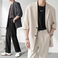 2021 korean style blazer male fashion solid color business casual suit coats men streetwear wild loose dress jackets men s 3xl