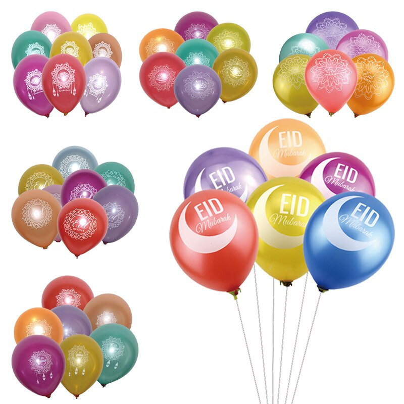50Pcs 10inch Eid Mubarak Colorful Latex Balloons Islamic New Year Decor Muslim Ramadan Festival Decoration Supplies