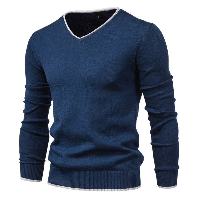 2020 New Cotton Pullover V-neck Men's Sweater Fashion Solid Color High Quality Winter Slim Sweaters