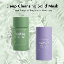 Green Tea Cleansing Solid Mask Purifying Clay Stick Mask Oil Control Skin Care Anti-Acne Eggplant Re