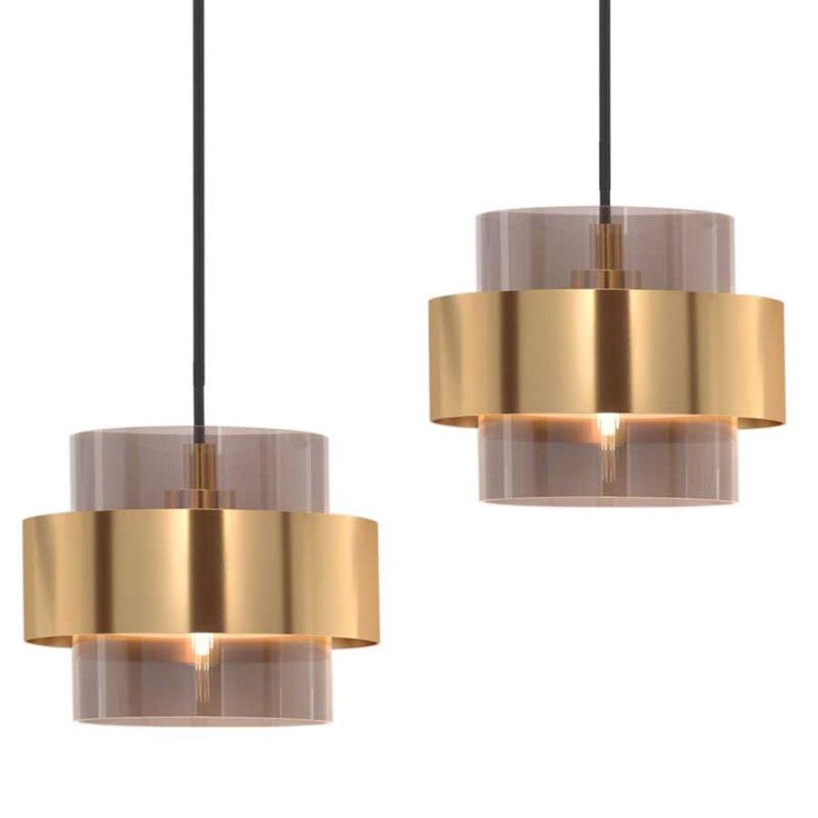 الحديثة داخلي الجدول قلادة أضواء غرفة المعيشة المطبخ الطعام قلادة مصباح الزجاج الذهب تصفيح حلقة معدنية تركيبات بإضاءة led