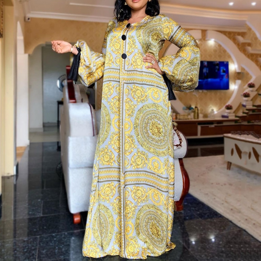 الصيف طويلة الأكمام فستان ماكسي السيدات الأفريقية الغنية بازين الذهبي طباعة خمر حجم كبير 3XL الطابق طول المرأة حفلة فستان طويل