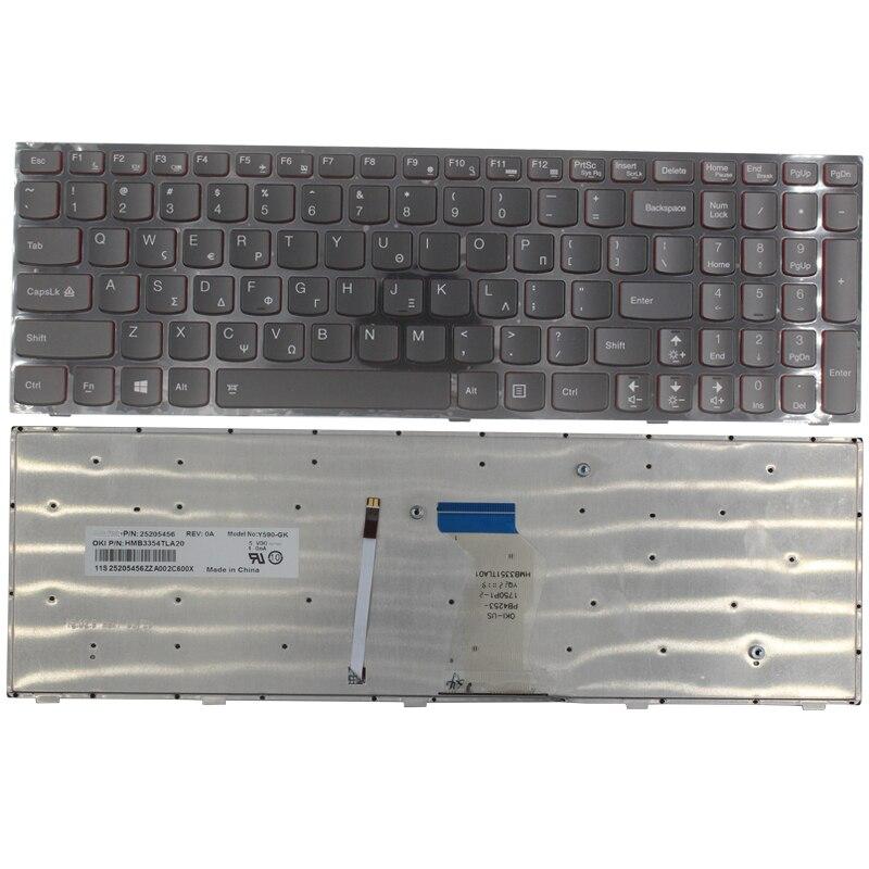 Новая GK Клавиатура для ноутбука Lenovo Y590 Y500 Y510P греческая Клавиатура для ноутбука с рамкой Blacklight