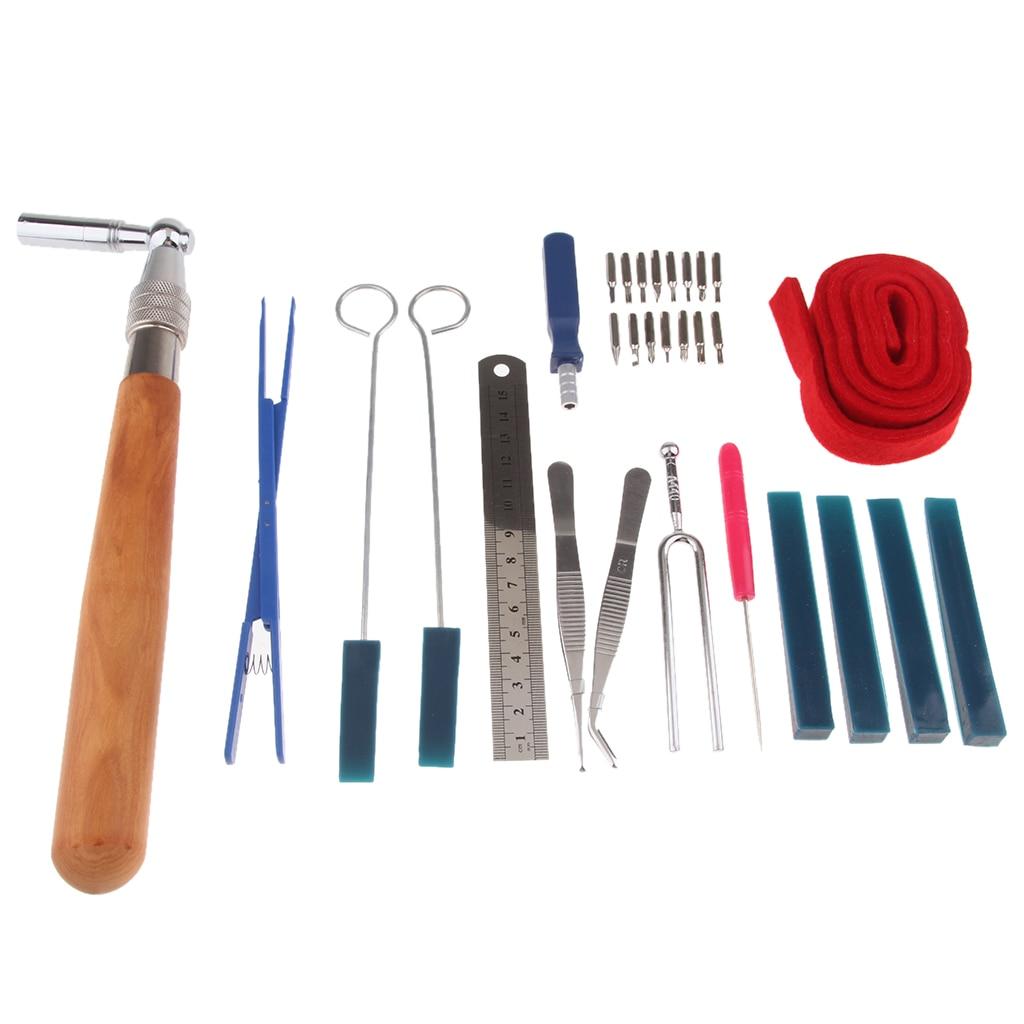 30pcs/set Portable Piano Tuning Lever Tools Kit Mute Hammer Temperament Strip Fixing