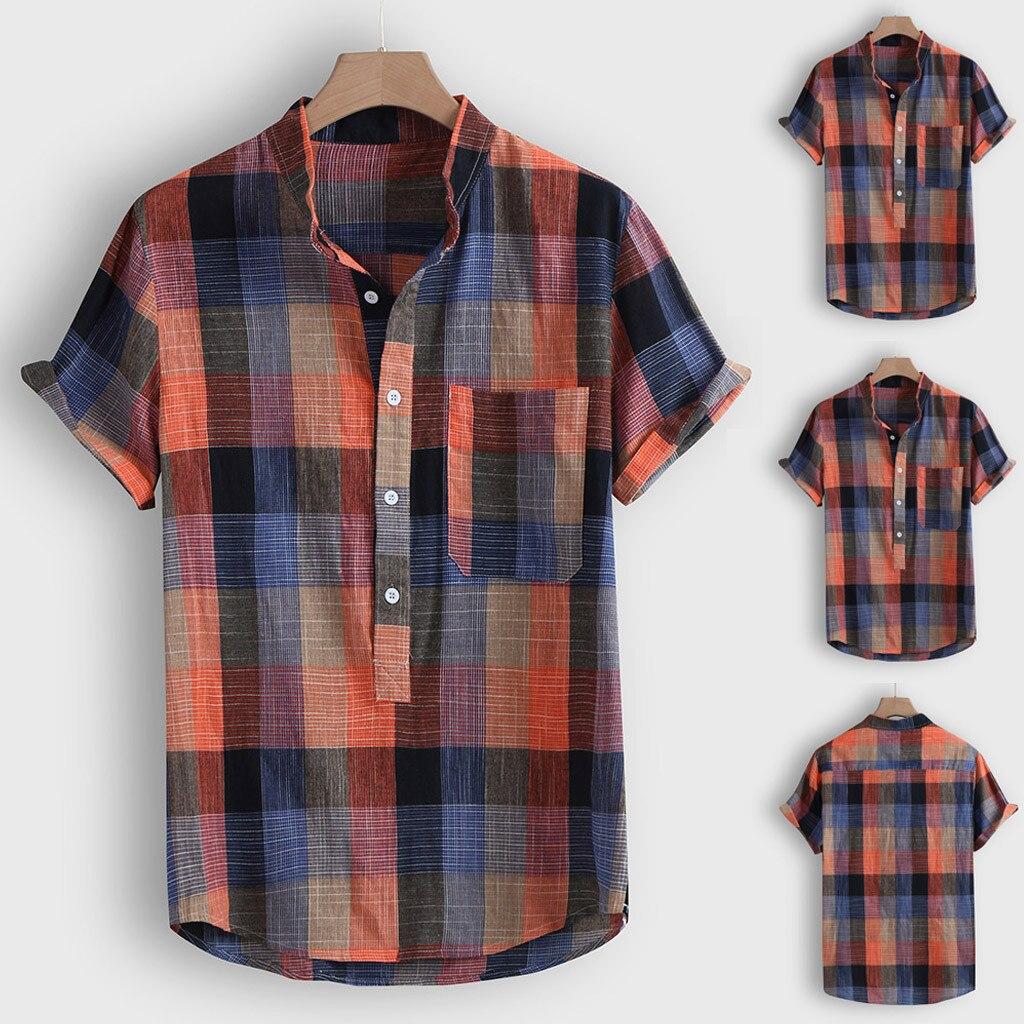 Mode männer Casual Taste Hawaii Plaid Print Strand Kurzarm Top Bluse camisa Drehen-unten Kragen hemd männer camisas hombre
