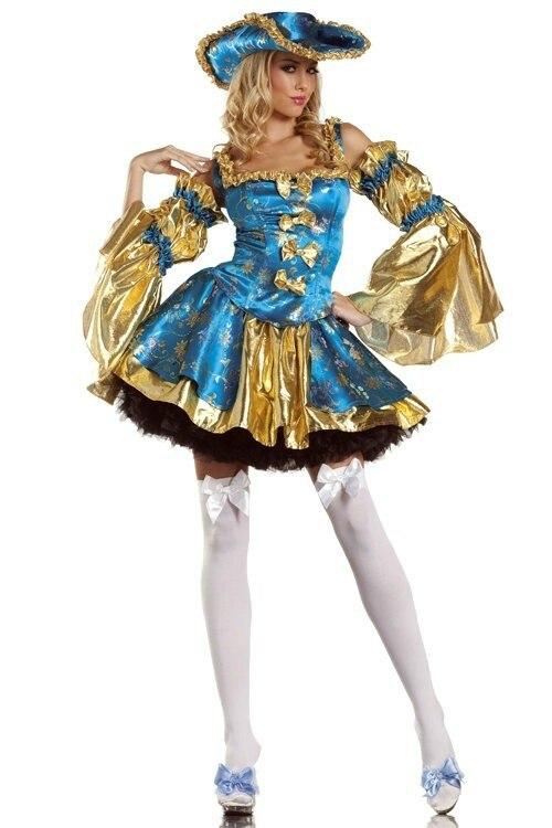 Disfraz de pirata del Caribe para mujer adulta Carnaval de Halloween dorado, disfraces de piratas, disfraz de Cosplay de lujo, conjunto de ropa para mujer JY087