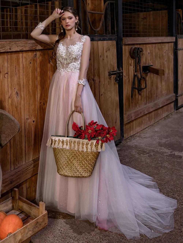 Sequins Tulle Appliqued Luxury Wedding Dress Princess Bridal Gowns Transparent Hollow Back Pearls Long Sleeves Vestido De Noiva