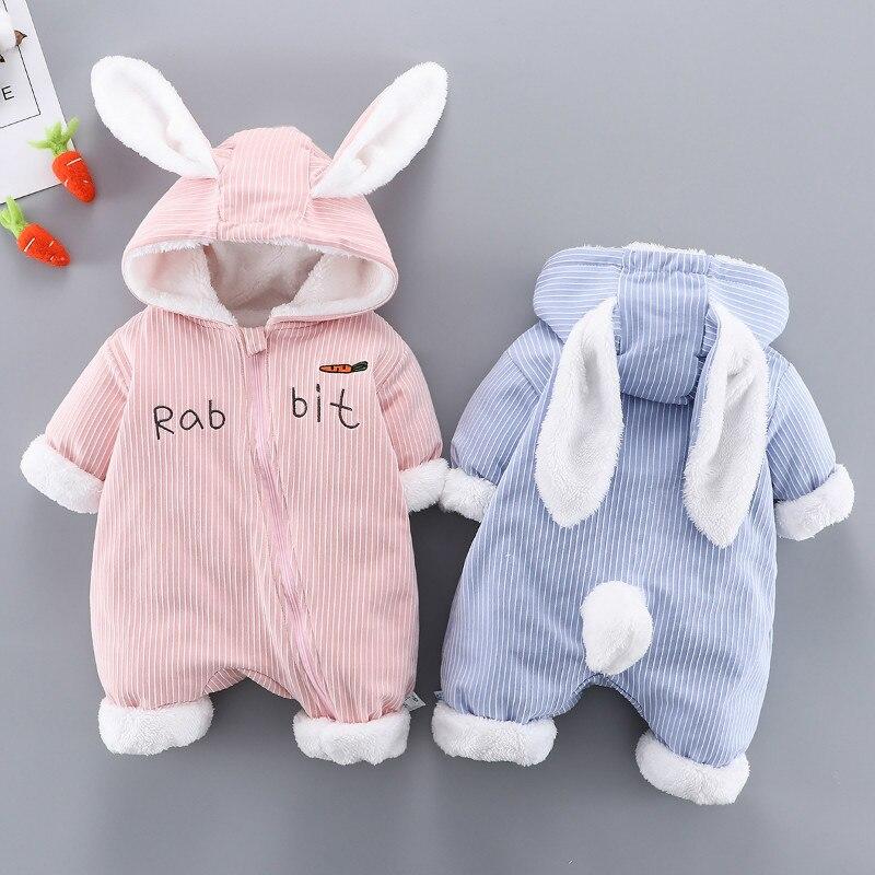 Осенне-зимняя детская цельная одежда с бархатным утеплителем для новорожденных, повседневный комбинезон, детский спортивный костюм с капюшоном, свитер для детской кроватки