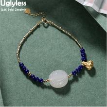 Uglyless Natural Jade Lapis Bracelets for Women Real 18K Gold Chain AU750 Stamp Fine Jewelry 24K Gold MINI Buddha Charm Bracelet