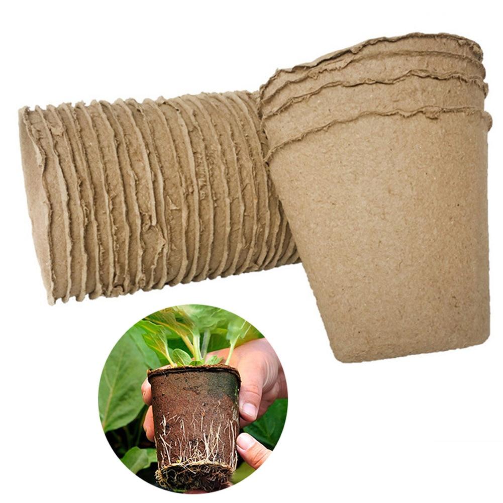 New Plant Flower Nursery Seedling Starter Tray Cup Kit Biodegradable Paper Pulp Pots for Home Garden Plant Transplanting