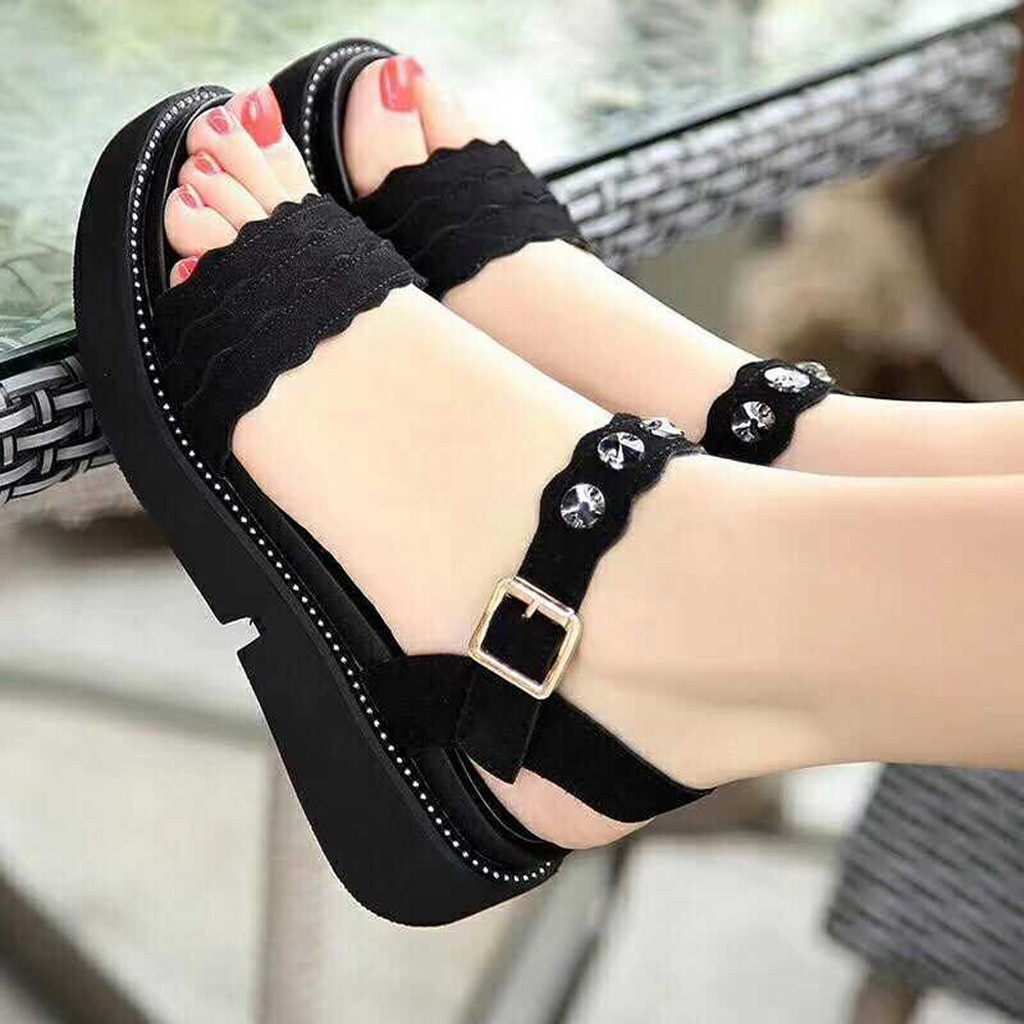 Zapatos de punta abierta para mujer, Sandalias planas con diamantes de imitación para verano, sandalias de Boca de pescado con hebilla de diamantes de imitación para playa # g30