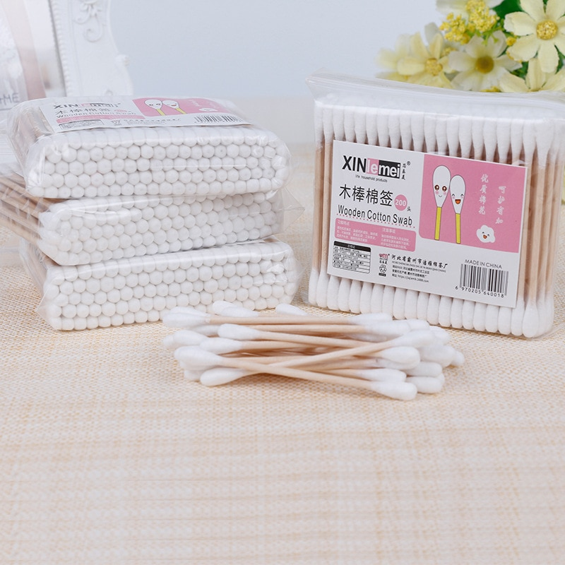 Wooden Sticks for Aikos Double-End Cotton Buds Microbrushes for Eyelashes 1000 Pcs 10 Pack Eco Friendly Zero Dechet Health Tools
