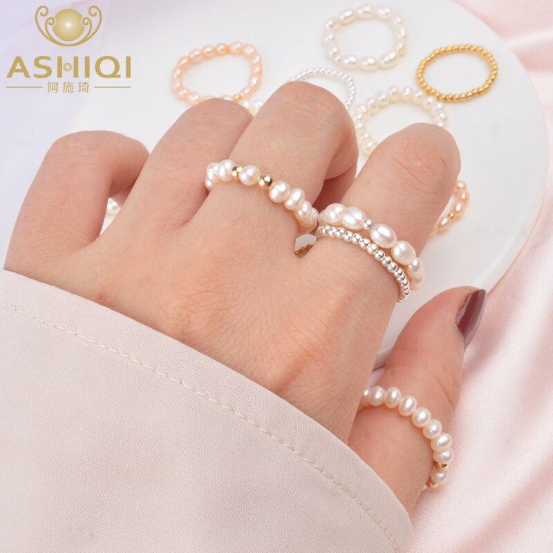 Женские Маленькие кольца с натуральным пресноводным жемчугом ASHIQI, Настоящее серебро 925 пробы, подарок для женщин, 3-4 мм, 2019