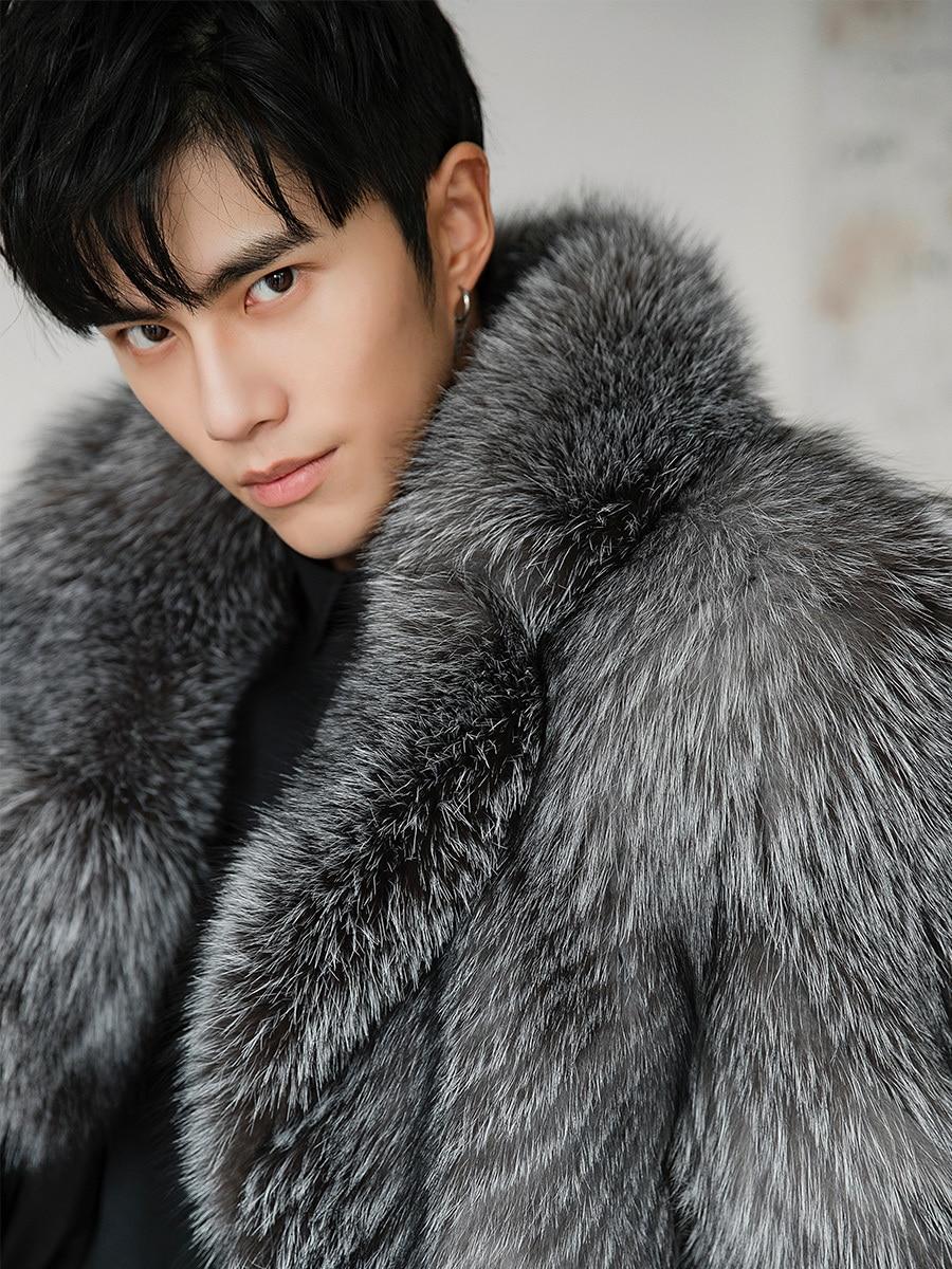 Winter Real Fur Coat Men Fox Fur Jacket Long Natural Silver Fox Coat Warm Luxury Jackets for Men Overcoat 18156 KJ3316