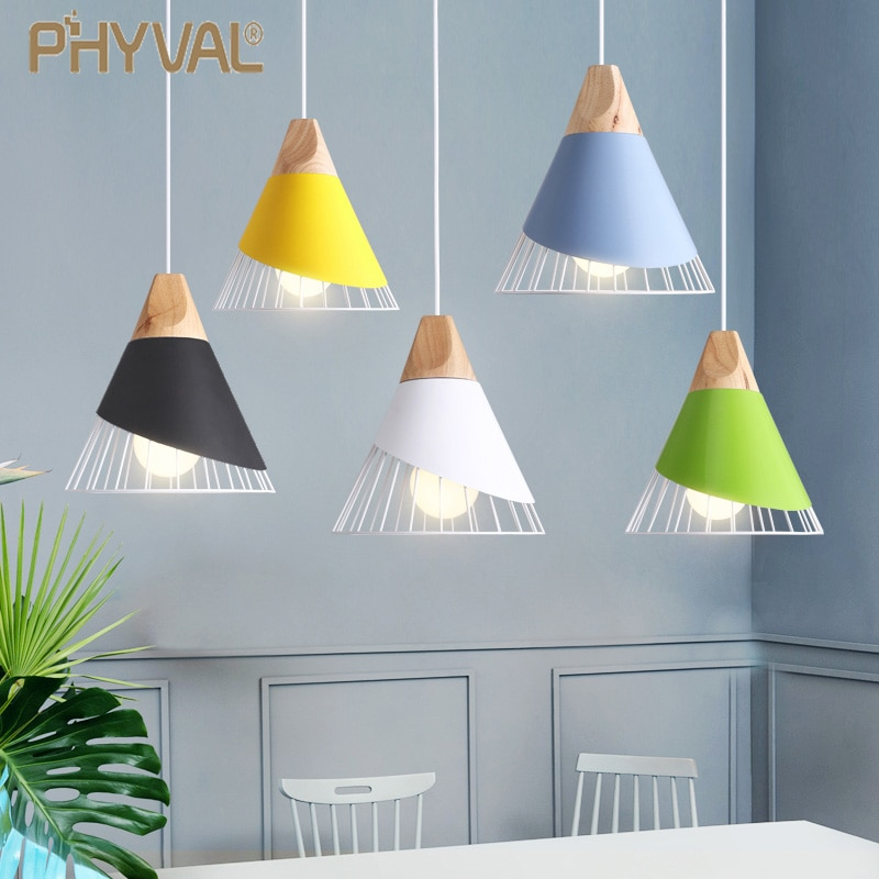 PHYVAL-مصباح معلق مصنوع من الألومنيوم على طراز معكرون E27 ، تصميم إسكندنافي حديث ، إضاءة داخلية مزخرفة ، مصباح سقف مزخرف ، مثالي لغرفة النوم
