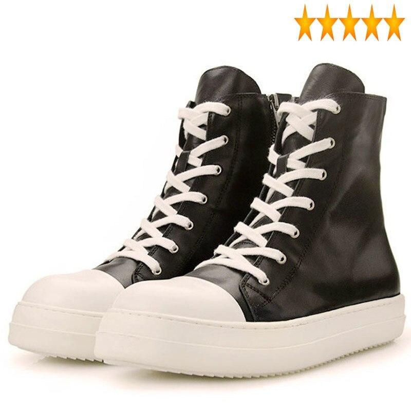 Plana dos Homens Rendas até Dedo do pé Moda Nova Retro Alta Superior Sapatos Casuais Redondo Masculino Couro Genuíno Estilo Britânico Zip Calçado 2021