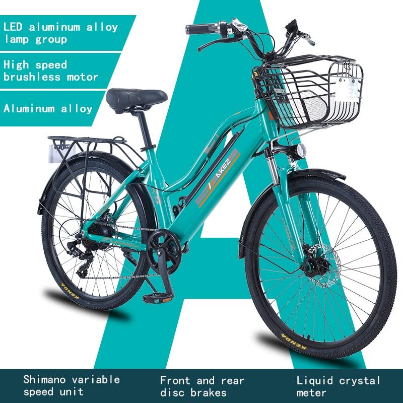 AKEZ-Bicicleta eléctrica de 26 pulgadas párr mujer de bici con Motor de...