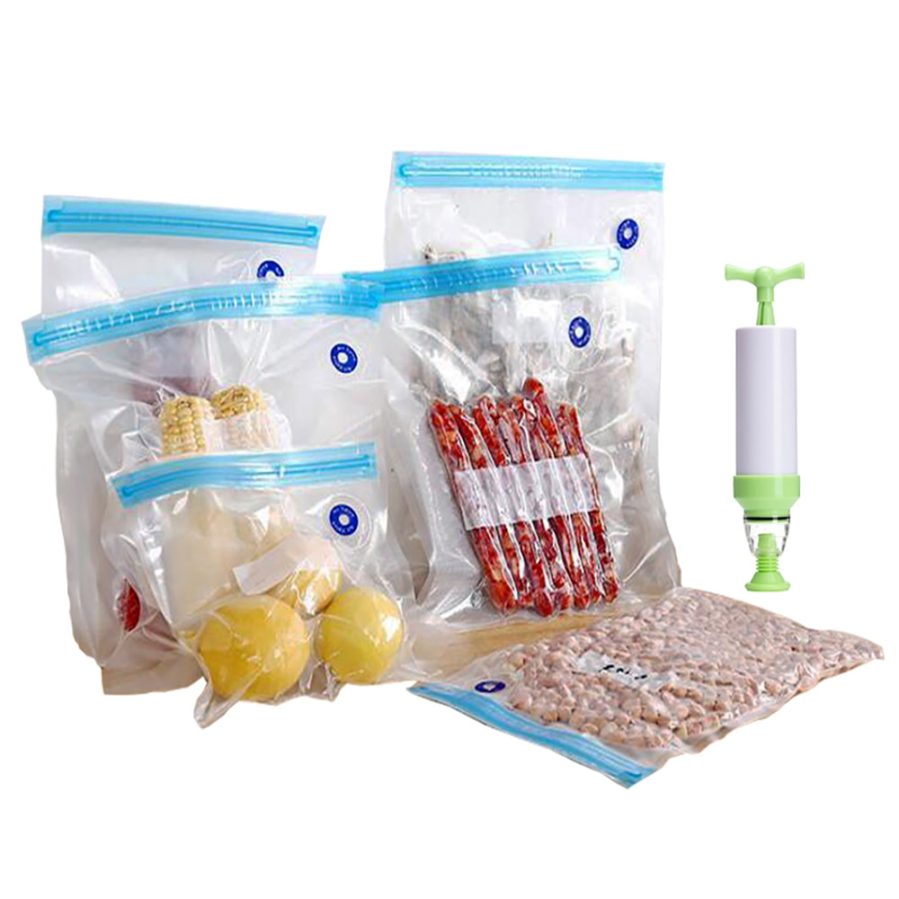Food Compression Bag Reusable BPA Free Sous Vide Home Kitchen Vacuum Seal Sealer Food Storage Zip Packing Bags with Hand Pump