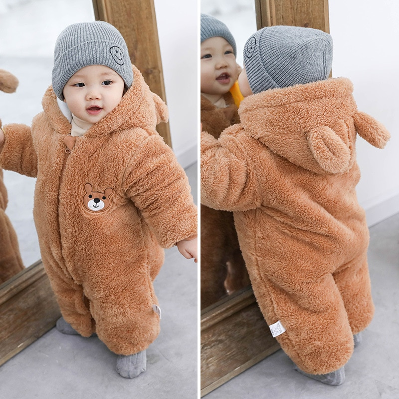 Baby Clothes Newborn Winter Hoodie Baby Rompers Unisex Baby Warn Thick Romper Climbing Outwear Infant Baby Jumpsuit 0-18M