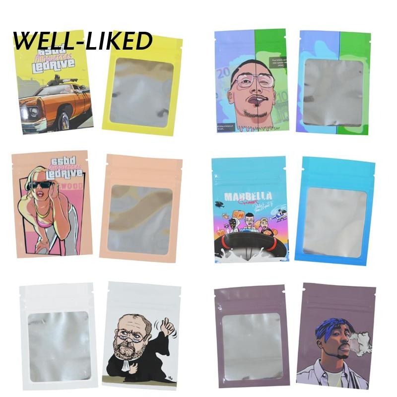 AliExpress - 7*10 CM Fashion Cartoon Print Bags Zip Lock Candy Bags Tobacco Food Package With Windows Wholesale Custom Logo