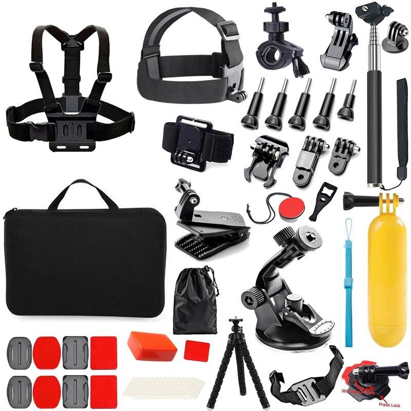 Promoción -- Kit de accesorios para cámara de acción 65 en 1 para GoPro Hero 2018 GoPro Hero6 5 4 3 estuche de transporte/correa para el pecho/Tripo de pulpo