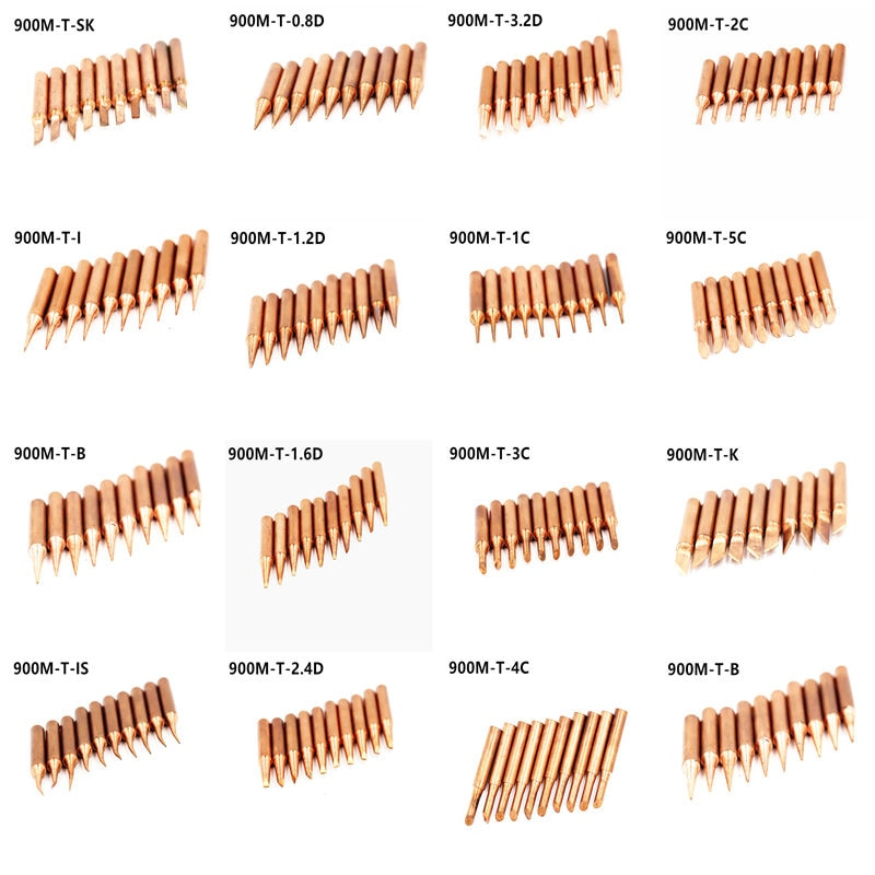10pcs lead free 900m t i soldering iron tips for hakko 907 933 852d 936 soldering station electric replaceable welding heads 15 modles Lead-free 900M T Series Pure Copper Soldering Iron Tip Welding Sting For Hakko 936 FX-888D 852D Soldering Iron Station