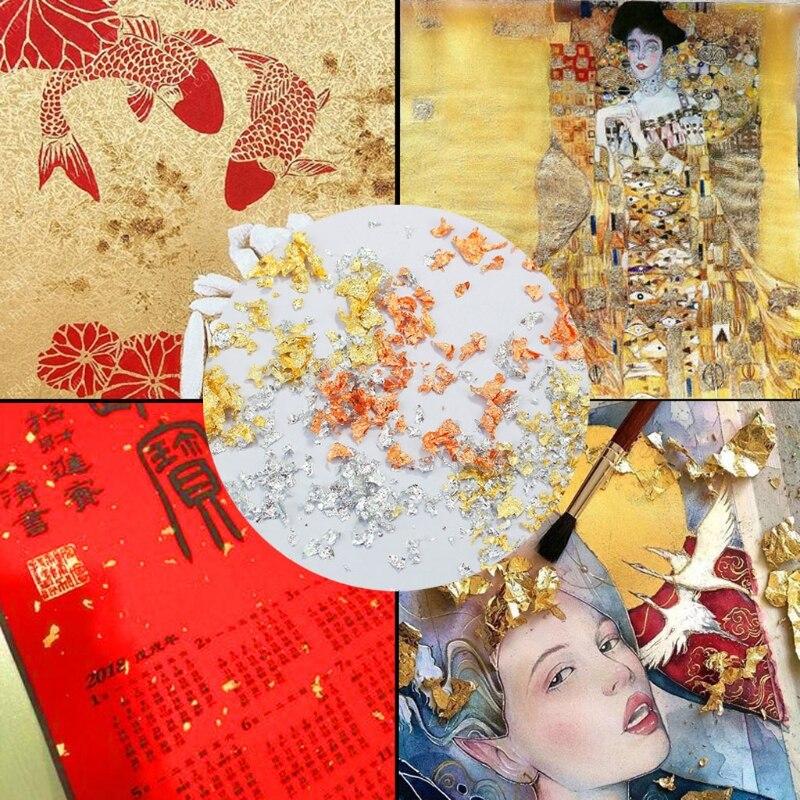Металлическая фольга набор хлопьев для изготовления слайма и смолы ювелирных изделий металлический лист для покраски ногтей поделок с ими...