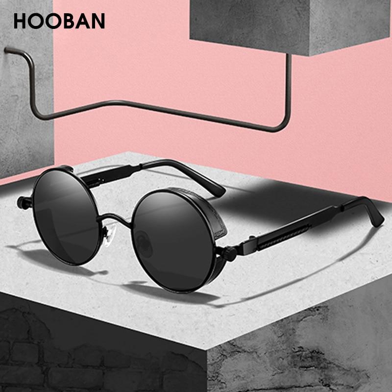 HOOBAN Classic Steampunk Sunglasses Men Women Retro Gothic Round Male's Glasses Fashion Metal Drivin
