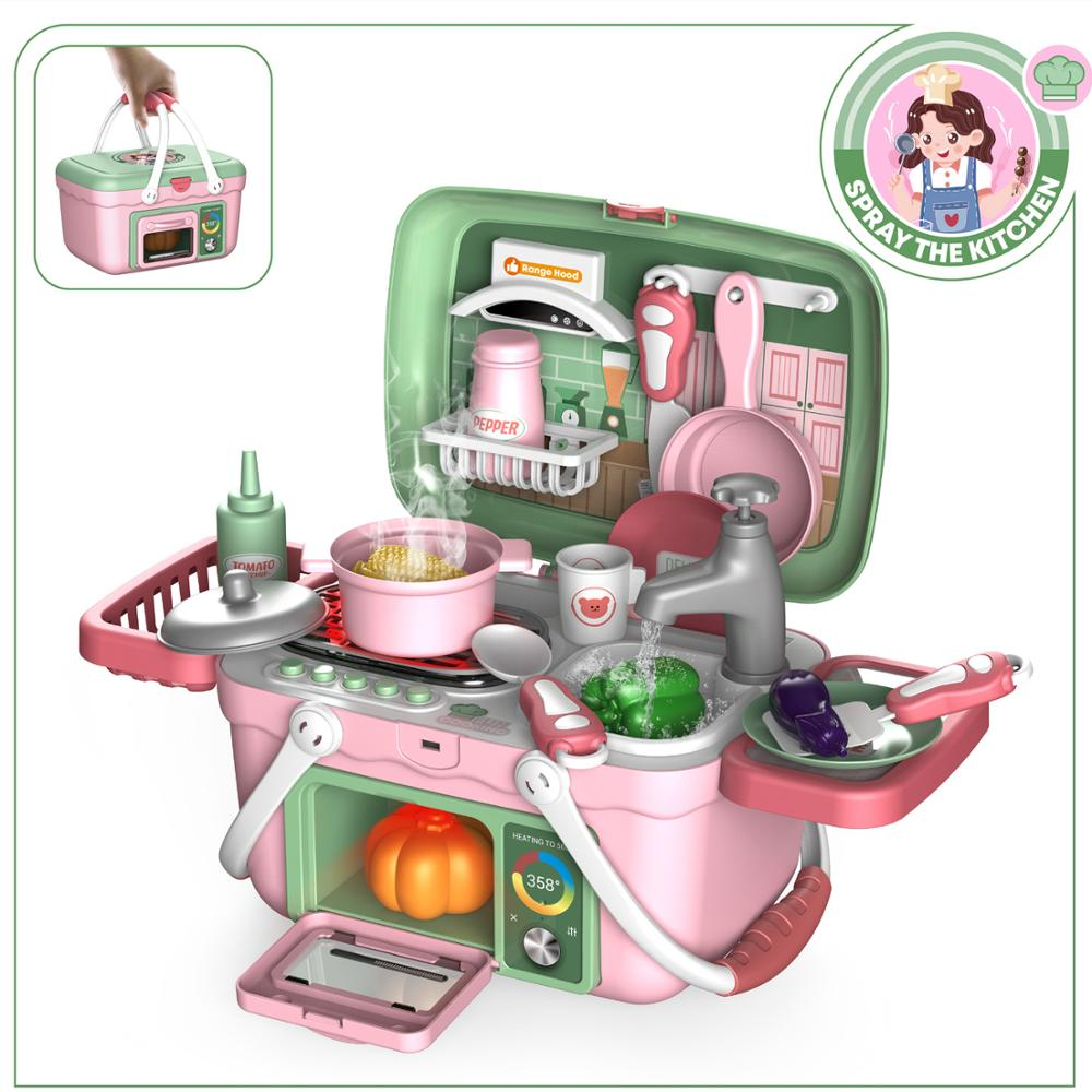 Kids Kitchen Plastic Foods Electric Dishwasher Sink Pretend Play Toys Sets For Children Girls Birthday New Year Gifts