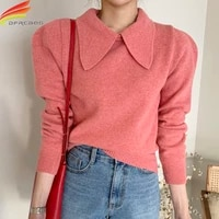 long puff sleeve sweet sweater women 2020 autumn winter new arrivals candy color ruffled collar knitted sweaters pullovers women