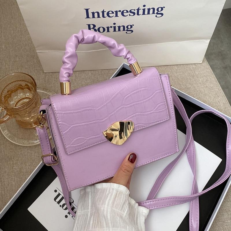 Fashion Small Handbag Designer PU Leather Shoulder Bags for Women Stone Pattern Crossbody Bags Solid Flap Women Bag