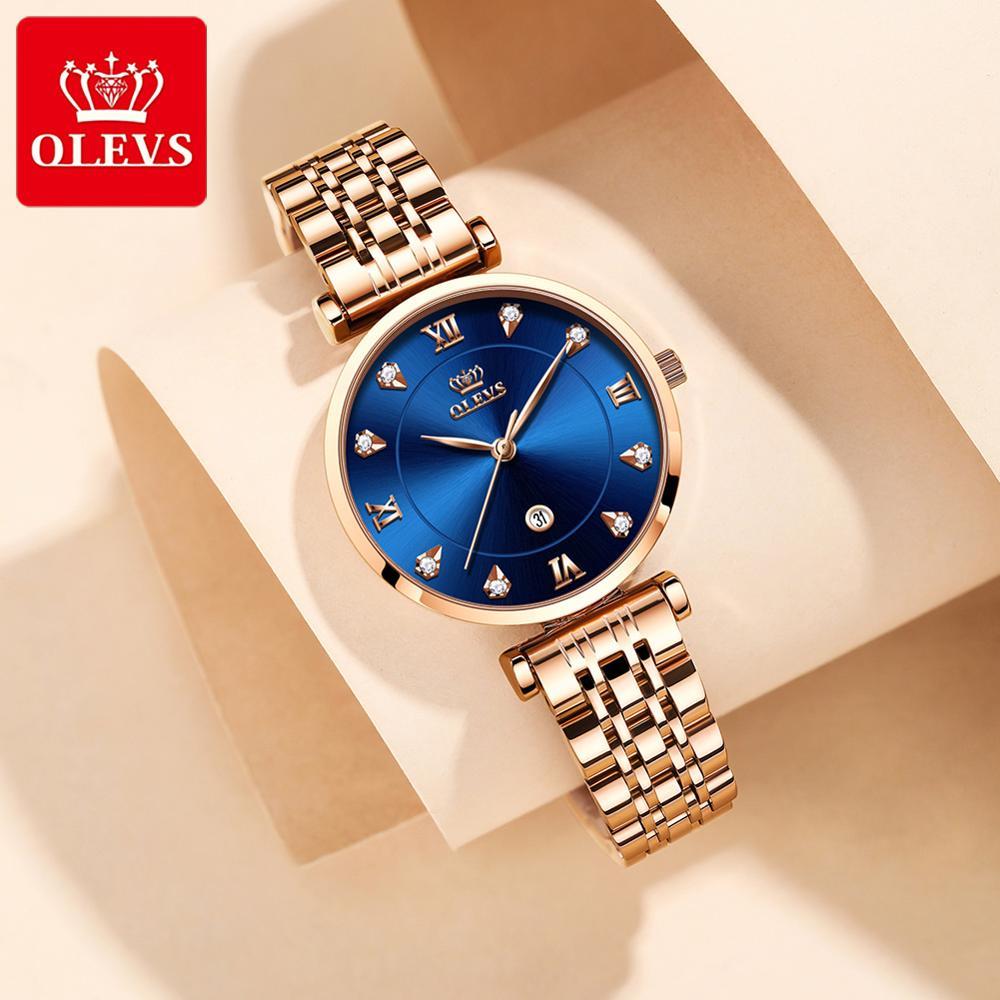 OLEVS топовый бренд новые женские модные кварцевые часы водонепроницаемые роскошные женские часы с ремешком из нержавеющей стали дамские час...
