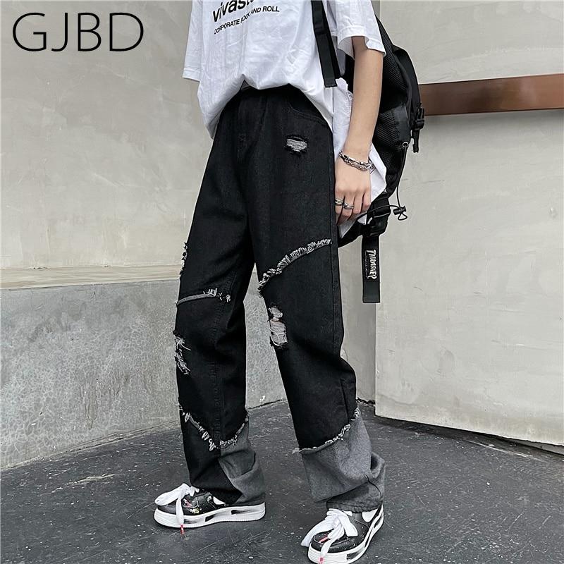 سراويل جينز نسائية ممزقة بتصميم عتيق موديل 2021 ملابس الشارع الشهير Y2K سراويل متوسطة الخصر فضفاضة غير رسمية من قماش الدنيم المستقيم