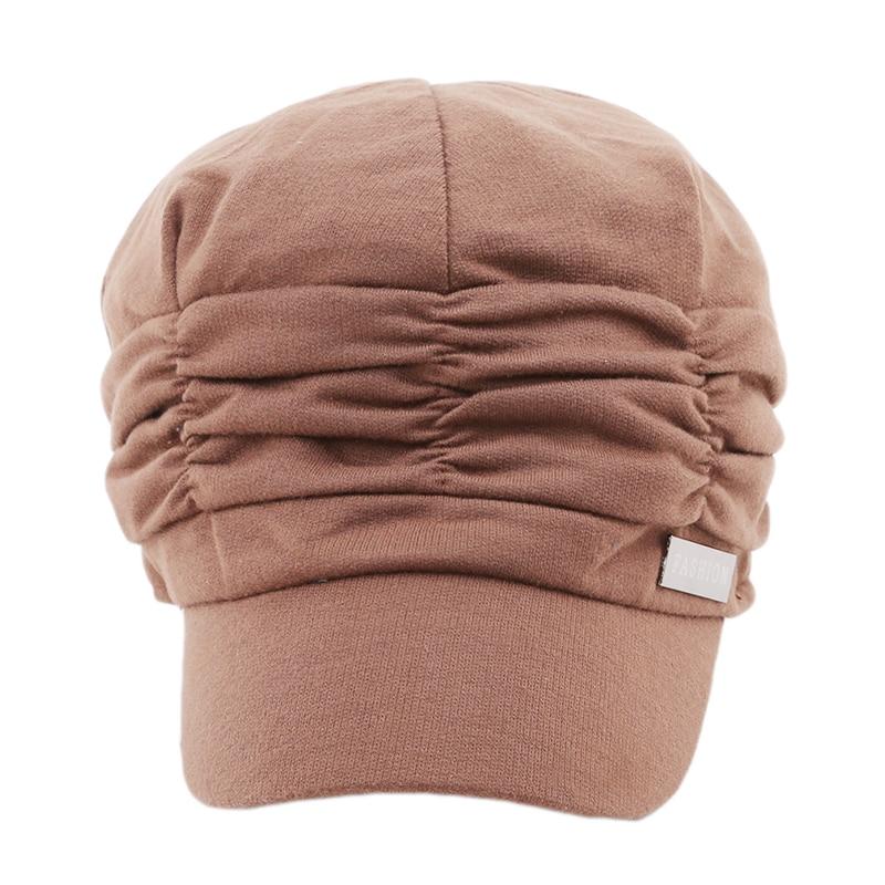 Autumn Winter Korean Women Knited Hat Pleated Newsboy Cap Warm Outdoors Visor Skull Cotton Casual Female Newsboy Caps Winter Hat
