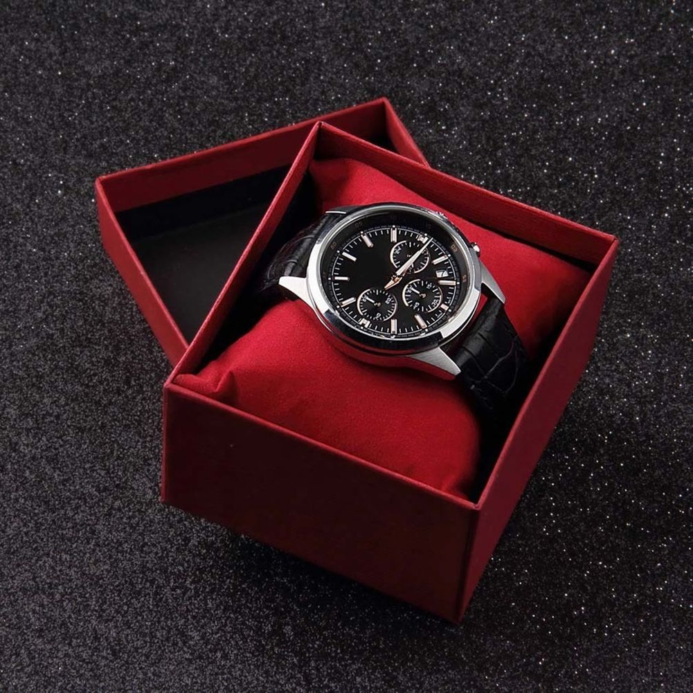 New Red Watch Box Cardboard Present Gift Box Rectangle High-Grade Quartz Watches Packing Box Jewelry