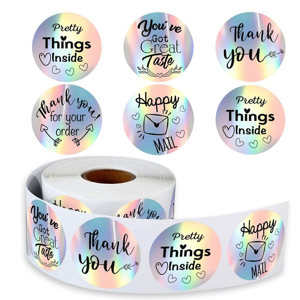 15-grazie-per-il-tuo-ordine-adesivi-happy-mail-grazie-etichetta-olografica-argento-arcobaleno-holo-adesivo-per-confezione-boutique