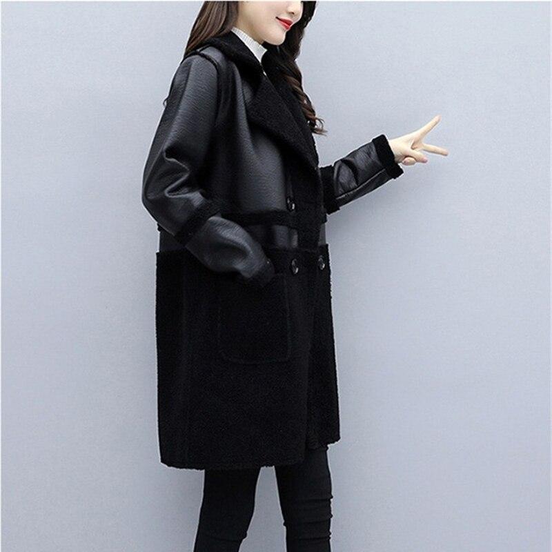 Autumn Winter Both sides Wear Leather Coat Women Plus size 5XL Plus velvet Thicken Loose Outerwear Female Flocking Jackets enlarge