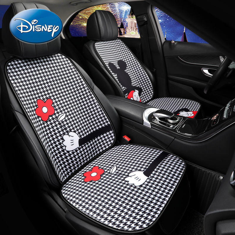 Disney Mickey Mouse Minnie Car Four Seasons Universal Non-slip Cushion Cartoon Simple Linen Cushion Car Decoration Cushion enlarge