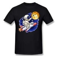 Fly To Moon Print Cotton T-Shirt Bitcoin For Men Fashion Streetwear