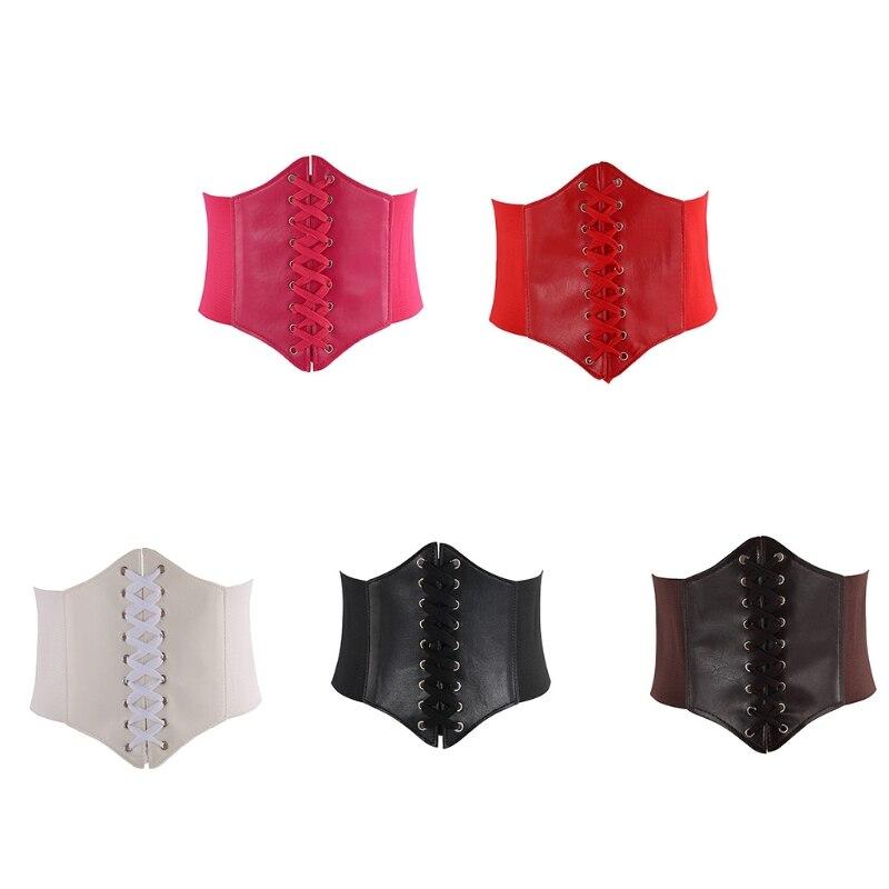 faux leather zip lace up corset Women Faux Leather Underbust Corset Waist Belt Steampunk Vintage Sexy Bustier Criss Cross Lace-Up Elastic Cincher Girdle